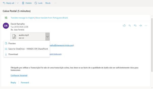 download Microsoft Teams voicemail graph explorer
