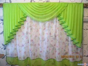 Шторы из вуали двух цветов для спальни - 25 фото