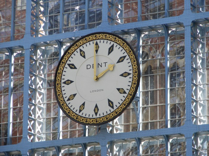 Clock at St Pancras station