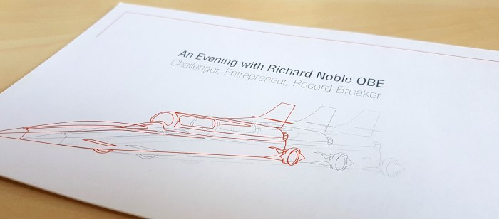 Bloodhound SSC invitation artwork, with technical drawing