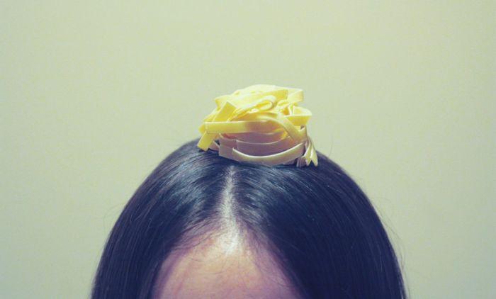 pasta on head of egle sanna