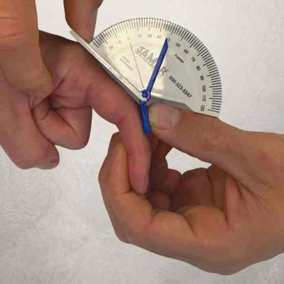 measuring finger movement by physiotherapists