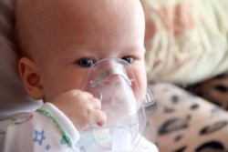 Baby with Nebulizer, enterovirus