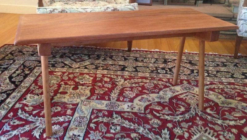 Mid-Century Style Coffee Table with Mahogany Top