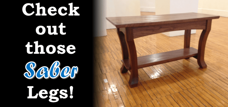 Walnut Side Table with Saber Legs