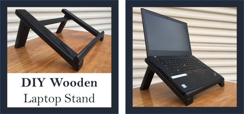 DIY Wooden Laptop Stand Made in USA Color Black