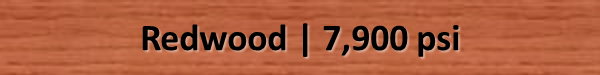 Redwood Bending Strength psi