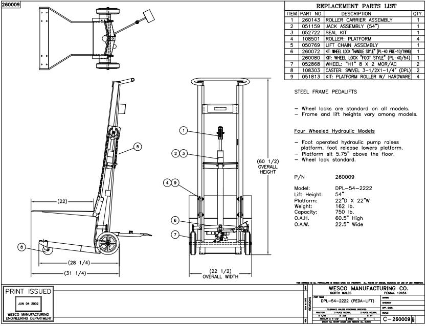 Four Wheel Foot Pump Platform Lift Truck
