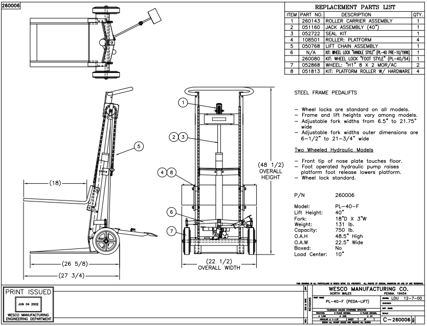 cheap hydraulic fork lift truck-handtrucks2go.com