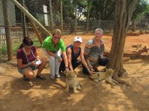 Jacky, Sue, Robyn and Lucy with lion cubs at Lion Park