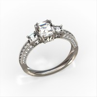 Three Stone Engagement ring with Gallery Initials