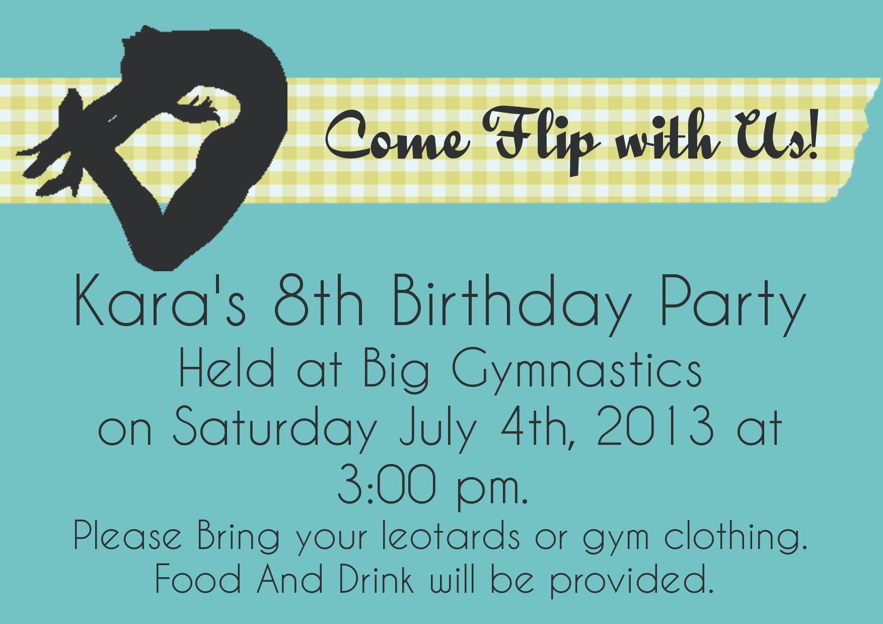 gymnastics birthday invitation tutorial