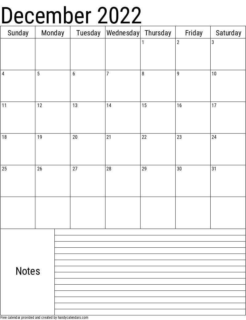 2022 December Calendars - Handy Calendars