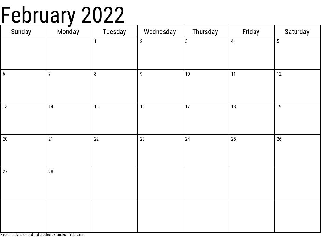 2022 February Calendars - Handy Calendars