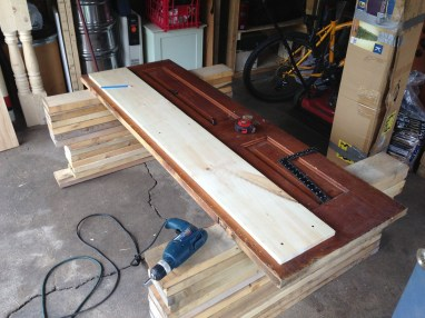 Building the selving unit for the desk.