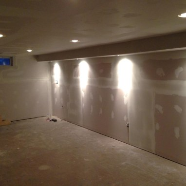 Finish up the drywall while waiting for the treads to be delivered