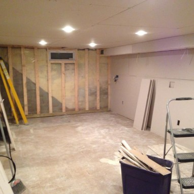 Getting the drywall installed in the basement.