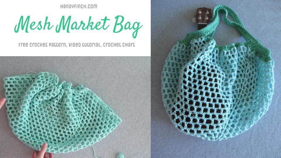 Simple Mesh Market Bag - Free Crochet Pattern - Handy Finch