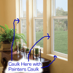 With these types of windows there isn't much caulking to do if they are installed correctly. You can use some painters caulk on the inside where the window meets the casing or the drywall. If it was installed correctly there shouldn't be a draft coming from this area.