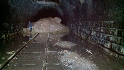 In the lost tunnel of the abandoned railroad tracks
