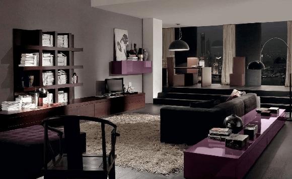 elegant dining room with bright purple interior 2