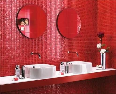 red cold full of energy bathroom from italian 2