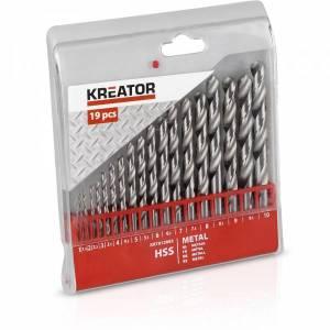 Metallipuuride komplekt Kreator HSS 1-10mm 19 osa