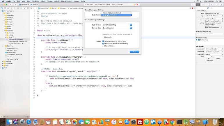 Legacy Build System in Xcode