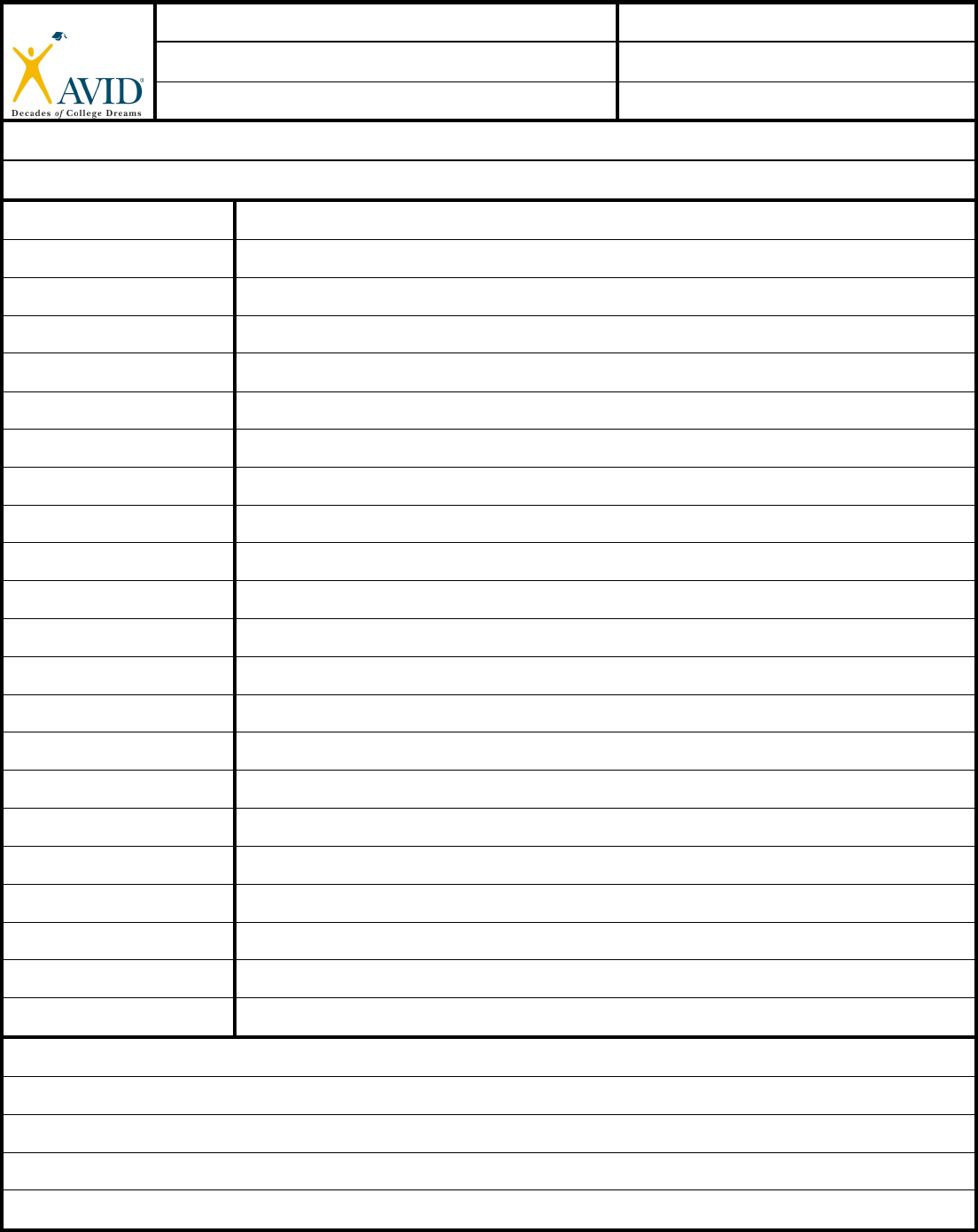 Cornell Notes Template Avid