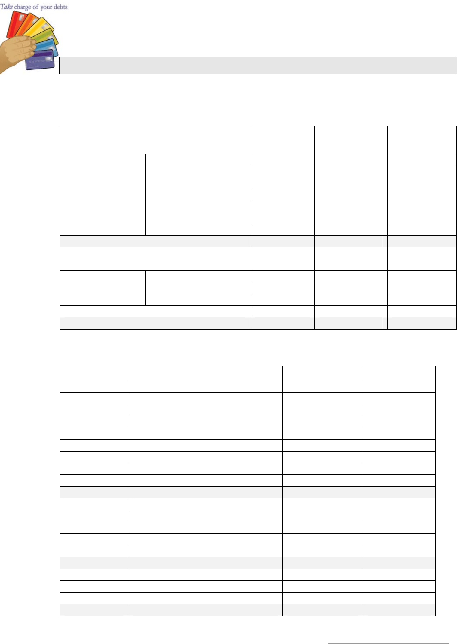 Sample Monthly Family Budget Template