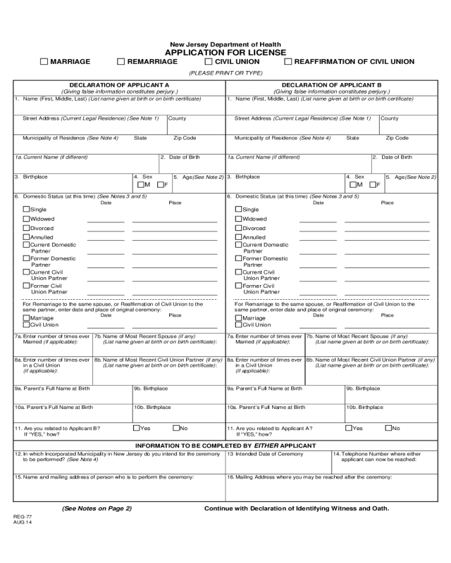Printable Texas Marriage License Application - Resume