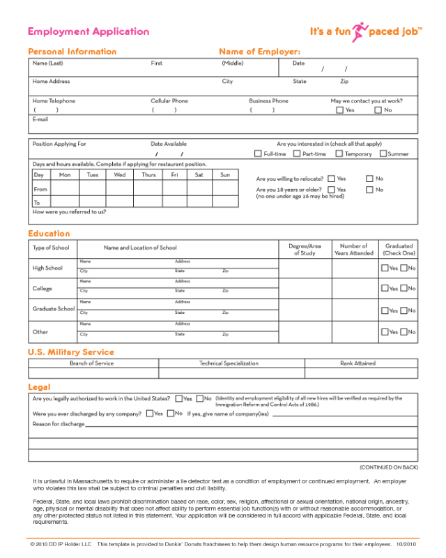 Dunkin Donuts Application Print Out : dunkin, donuts, application, print, Dunkin', Donuts, Application, Edit,, Fill,, Online, Handypdf