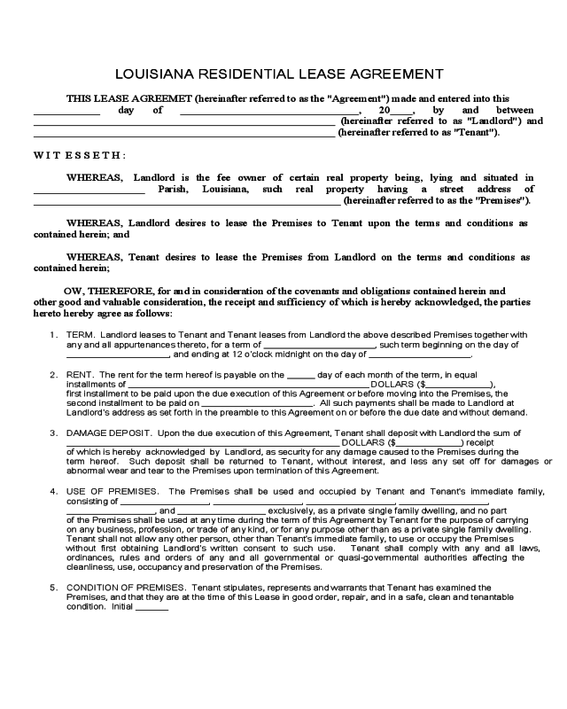 2020 Residential Lease Agreement