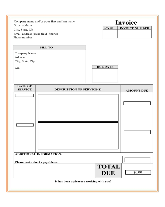 Edit Invoice Template Printable