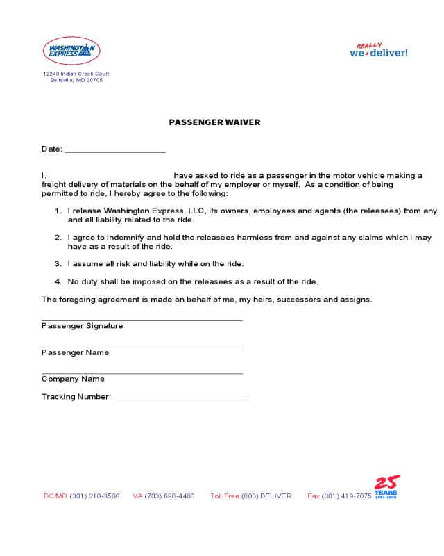 2020 Passenger Waiver Form - Fillable Printable PDF ...