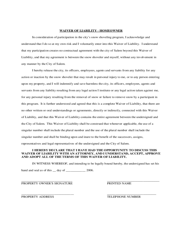 2020 Homeowner Liability Waiver Form - Fillable Printable ...