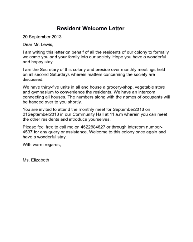 2019 Welcome Letter Templates Fillable Printable PDF