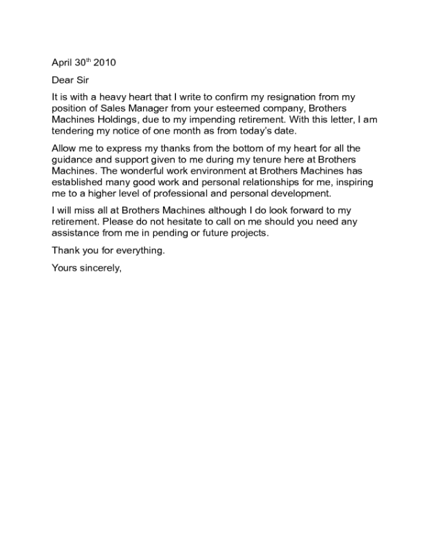 Resignation Letter - Retirement Resignation Letter Sample - Edit ...