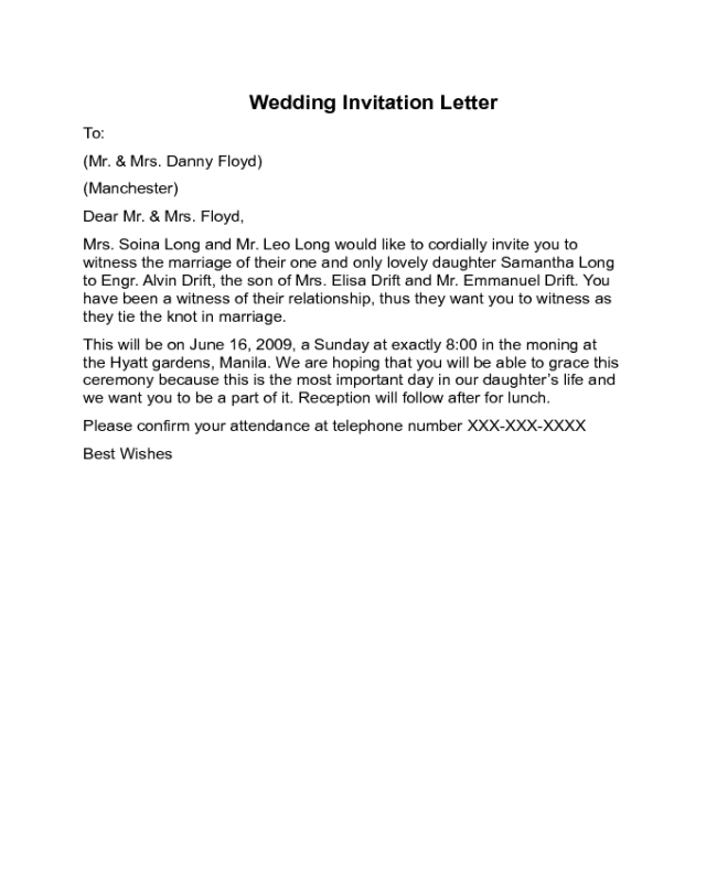 Wedding Invitation Letter Sample Edit