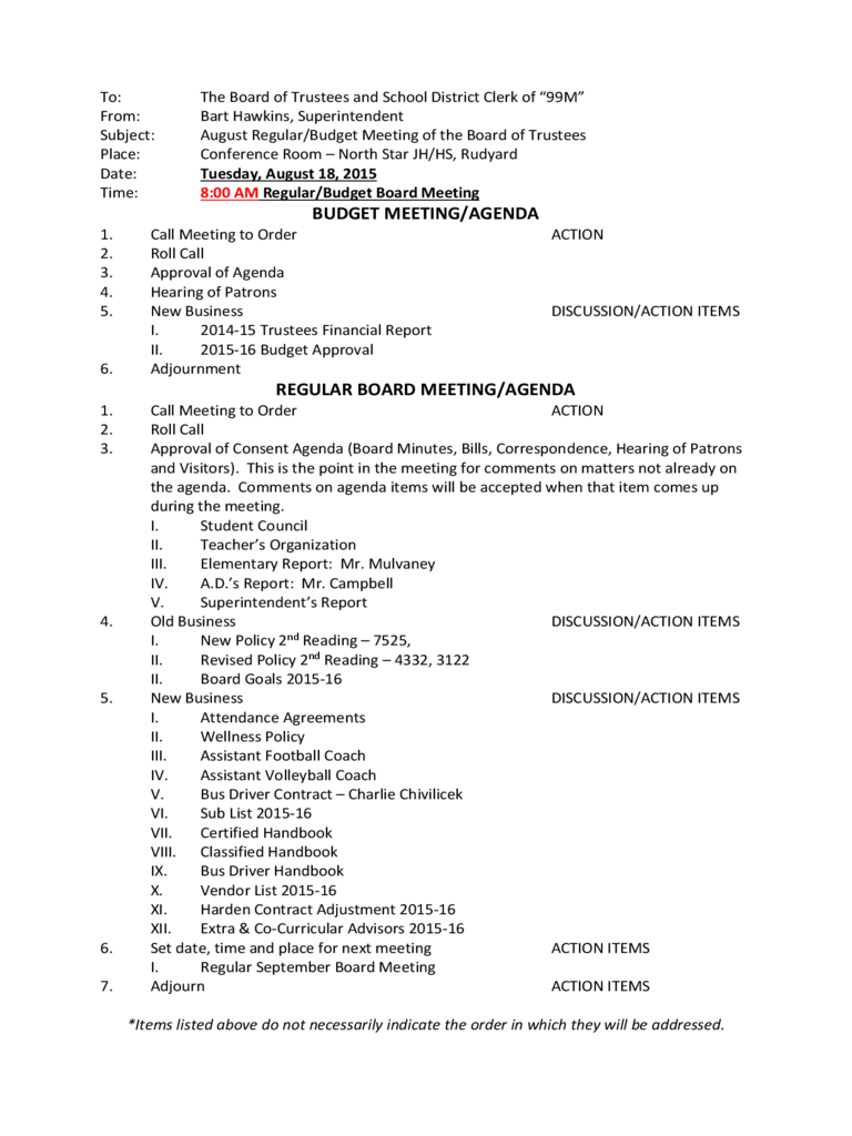 The agenda for the first meeting of the board of directors of a new nonprofit corporation would usually include some or all of the following. 2021 Budget Meeting Agenda Template Fillable Printable Pdf Forms Handypdf