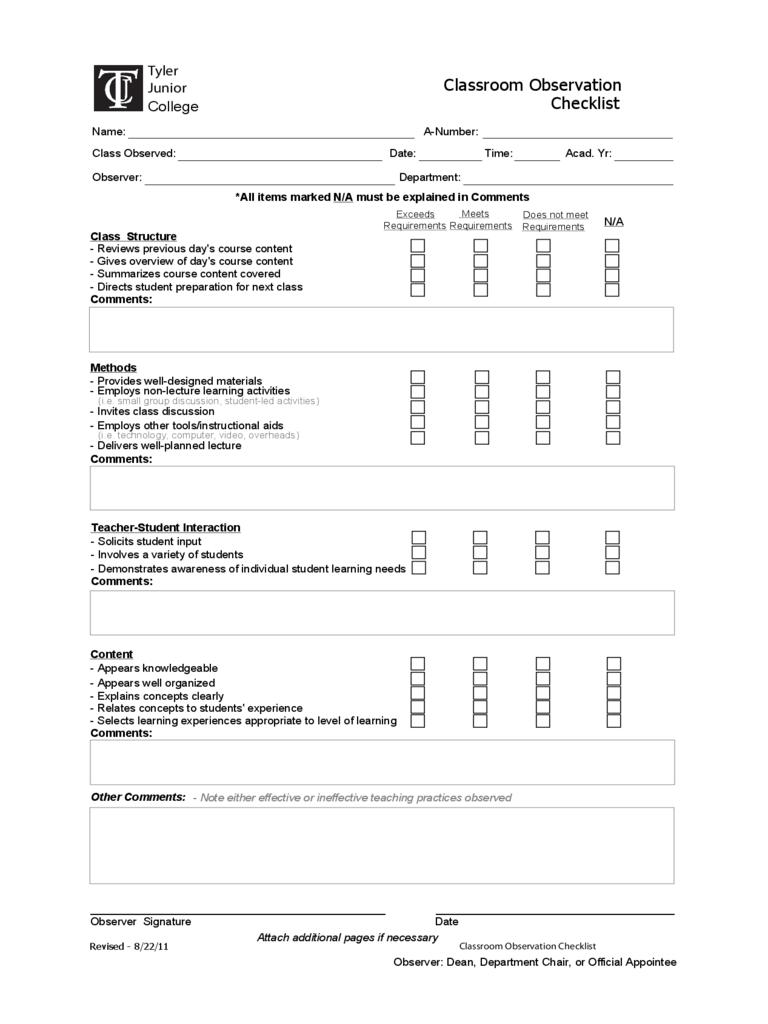Observation Checklist Template