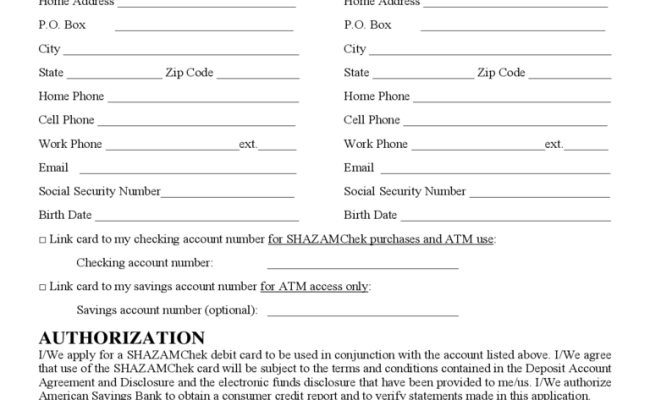 Debit Card Application Form America Edit Fill Sign