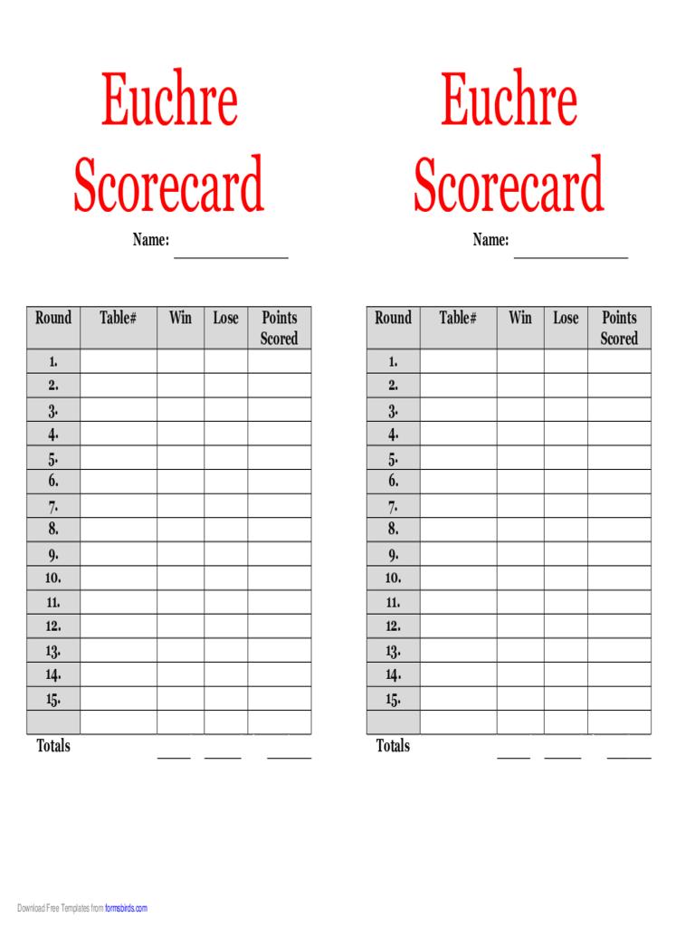 Euchre Score Cards Template