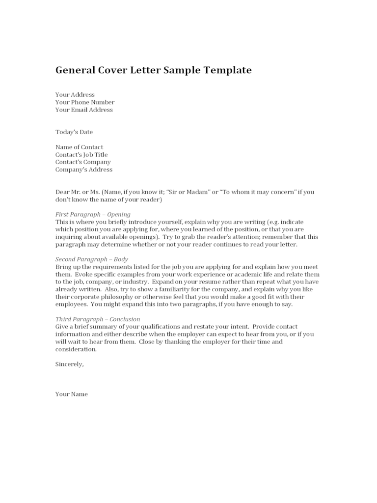 2019 General Cover Letter Template  Fillable Printable PDF  Forms  Handypdf