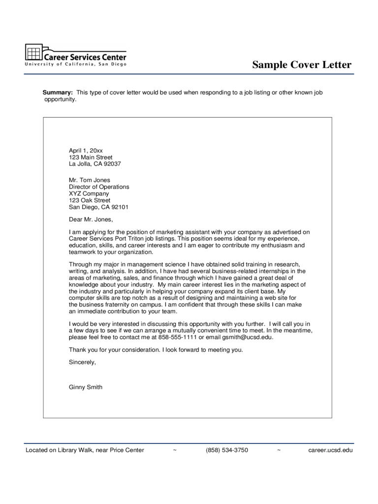 cover letter for marketing job