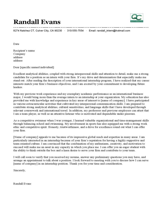 Sample Cover Letter For Marketing Intern June 2021