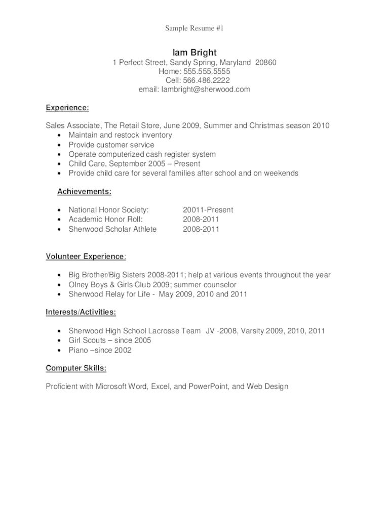 resume for graduate school sample