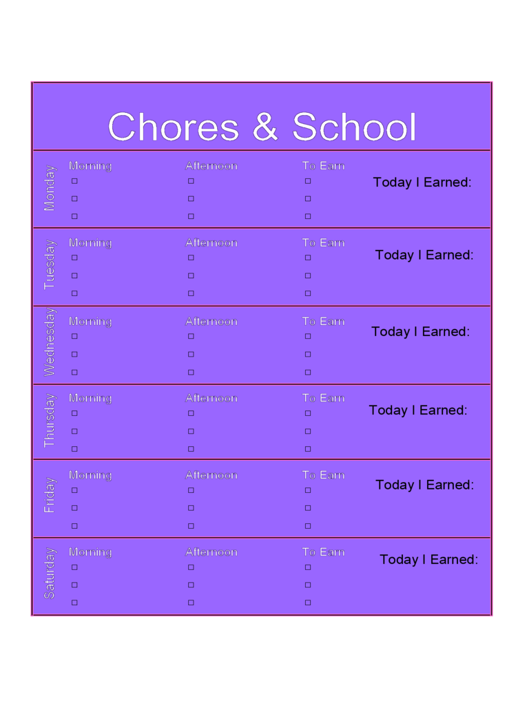 2018 Kids Chore Chart Template - Fillable, Printable PDF & Forms ...