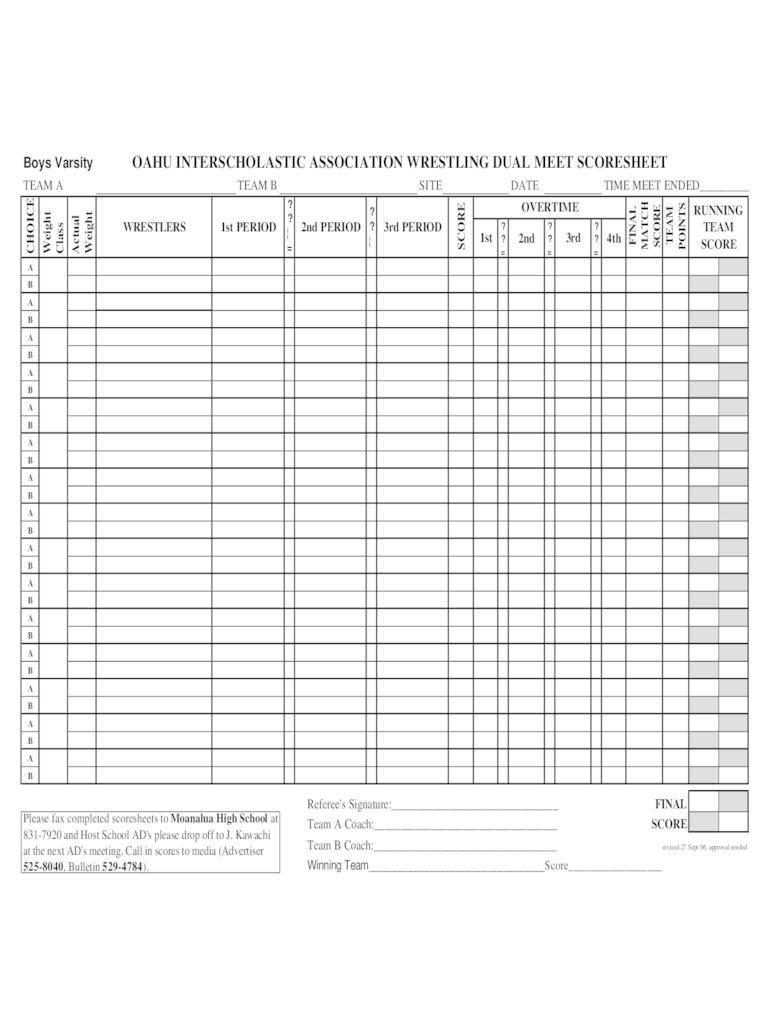Wrestling Dual Meet Score Sheet Template