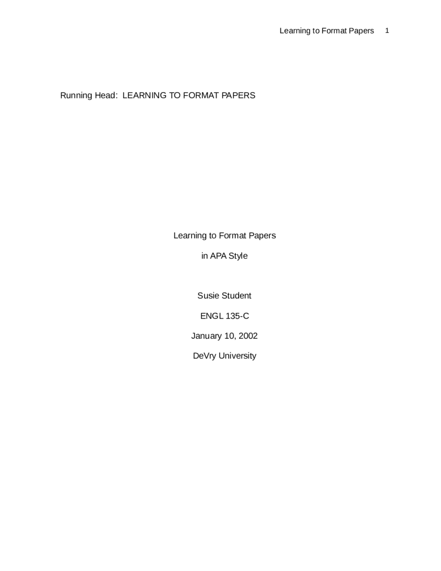 Apa Essay Cover Page Cover Page Of Mla Research Paper Title Page